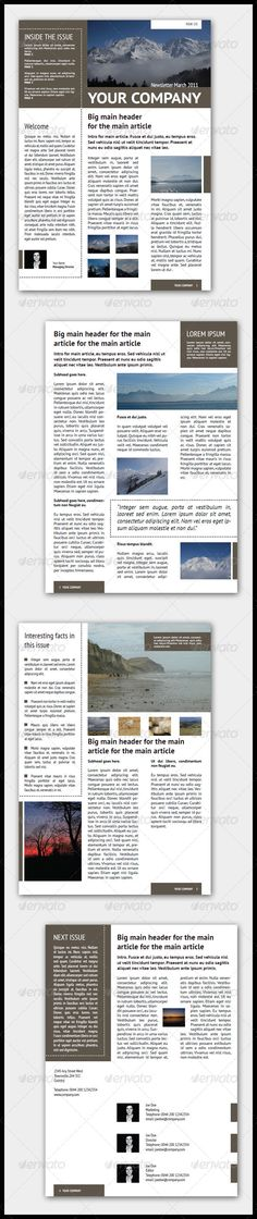 Company Newsletter Template (4 Pages – Adjustable)