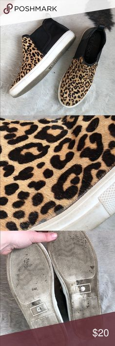 Calf Hair Sole Society High Top Sneakers Leopard print! These shoes add just a little funk to any outfit but best with black jeans I think. I simply need to get some things out of my NYC apt. Sole Society Shoes Sneakers