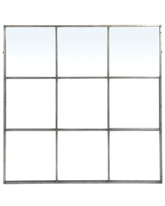 An elegant large square window frame mirror with minimal metal frame and antiqued silver finish. A decorative mirror for hallways, living rooms and bedrooms. Industrial Mirrors, Industrial Style, Window Pane Mirror, Mirror With Hooks, Copper Mirror, Large Windows, Large Mirrors, Decorative Mirrors, Window Styles
