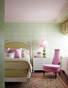 Jamie Drake. Ceiling is Benjamin Moore I love you Pink 2077-70. The Louis XVI bed is Helena from Mecox.
