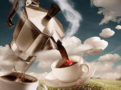 na tazzulilla i caffe`. Coffee Gif, I Love Coffee, Best Coffee, Coffee Break, My Coffee, Coffee Drinks, Chocolate Cafe, Good Morning Coffee, Coffee Poster