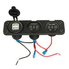#BangGood - #Eachine1 USB Charger Dual Ports Digital LED Car Ammeter 10A Voltmeter DC 30V Meter Gauge - AdoreWe.com
