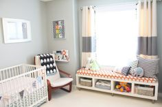 Love the window seat idea: Window bench - IKEA LACK shelf turned sideways 2 CAPITA leg kits Window bench cushion - 3 inch foam camping mattress trimmed and batted with cotton, sewn cover. Great idea for the living room! Nursery Room, Kids Bedroom, Nursery Decor, Ikea Nursery, Nursery Storage, Man's Bedroom, Nursery Grey, Playroom Storage, Nursery Ideas
