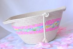 I handmade this pretty Pink Clothesline Basket ....Handmade by me.... Pretty Pink Fiber Basket Bowl, so many uses... by WexfordTreasures