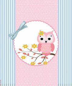 Cute Pink Owl Stripes & Bow. http://inspiresuafesta.com/corujinhas-kit-digital-gratuito/#more-2703