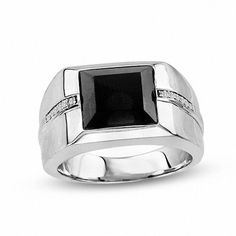 Zales Mens 8.0mm Square-Cut Onyx and Diamond Accent Band in Sterling Silver 13QgYA4FTL