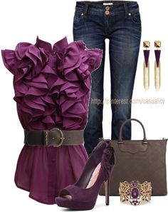 """Purple Ruffles & Open-toed Pumps"" by casuality on Polyvore"