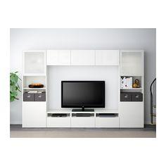 BESTÅ Comb arrum TV/portas vidro - branco/Selsviken vidro fosco branco/brilhante, calha p/gaveta, fecho suave - IKEA