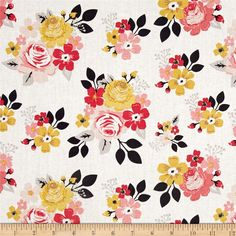 Riley Blake Vintage Daydream Main Cream from @fabricdotcom From Design by Dani for Riley Blake Designs, transport yourself to yesteryear with this sweet cotton print collection features retro florals, tribal prints, bunting, and more! Perfect for quilting, apparel, and home decor accents. Colors include white, mustard, shades of pink, and shades of grey.