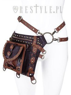 Restyle Brown Studded Holster Steampunk Victorian Punk Goth Emo Bag Satchel Belt - Fearless Apparel