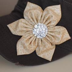 Dark Brown Tan Flower Cadet Hat Distressed Hat by Ebowsboutique, $28.00