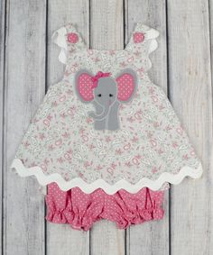 Stellybelly Gray Paisley Elephant Bow Top & Bloomers - Infant & Toddler | zulily