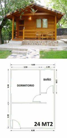 Casa simple. Un dormitorio, baño y ...... Hut House, Tiny House Cabin, Log Cabin Homes, Tiny House Living, Little House Plans, Small House Plans, House Floor Plans, Bamboo House, Backyard Sheds