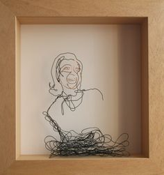 Danny Mooney 'Pauline' Iron and bronze wire 29 x 27 cm framed