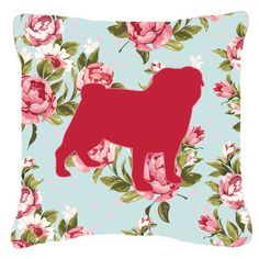 Caroline's Treasures Pug Shabby Elegance Blue Roses Indoor/Outdoor Throw Pillow & Reviews | Wayfair