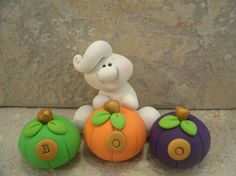 Ghostly Greeting Halloween Figurines by countrycupboardclay, $9.95
