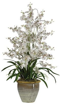 Nearly Natural Triple Dancing Lady Silk Orchid Arrangement in White & Reviews   Wayfair