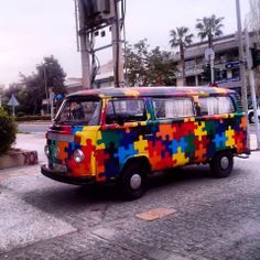 VW Bus puzzle paint job in Greece