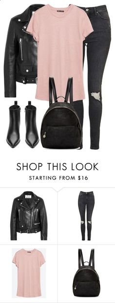 Untitled #2840 by elenaday ❤ liked on Polyvore featuring Acne Studios, Topshop, Zara and STELLA McCARTNEY