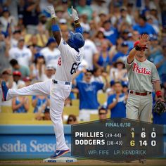 RECAP: Puig goes 4-for-5 as #Dodgers beat #Phillies, 6-1. http://atmlb.com/12xp5UJ  pic.twitter.com/zwWBWpML8c