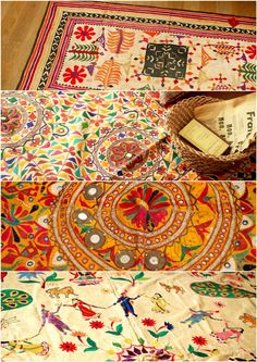 Beautiful collection of embroidered fabrics (some vintage) from Gujarat and Rajasthan