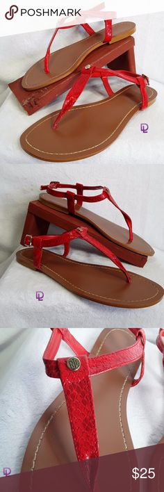 Ralph Lauren Red Snake Skin Sandals Ralph Lauren Red Snake Skin Leather Ankle Buckle Thong T Strap Sandals Size 8B   Excellent condition with light wear.  Leather snake design.  Buckle closure.  Flattering bottoms  T Strap design.  Size 8B Shoes Sandals