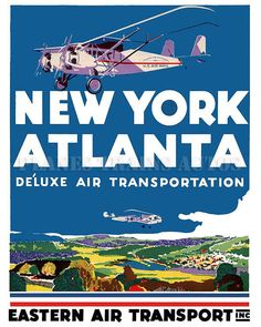 Vintage Airline Poster. Eastern Air Transport by PlanesTrainsAutos, $7.95