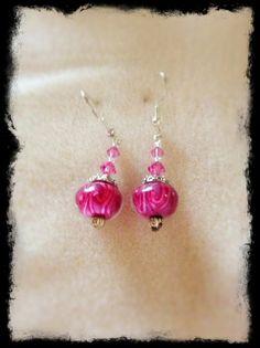 Rose Colored Lampwork & Crystal Earrings on Etsy, $10.00