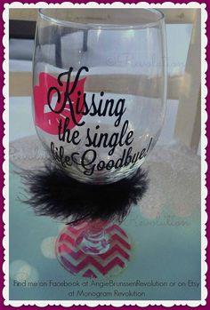 Bachelorette Gift Kissing the Single Life by MonogramRevolution