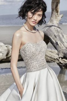 Phoenix by Sottero & Midgley Wedding Dresses. Beautiful strapless beaded bodice bridal gown with full satin skirt. Collection starts at $1,200 & up. Make an appointment at Precious Memories in Boston, Ma. 781-397-1336. European Wedding Dresses, Designer Wedding Dresses, Bridal Dresses, Wedding Gowns, Lace Wedding, Diana Wedding, Wedding Bells, Wedding Jewelry, Savannah