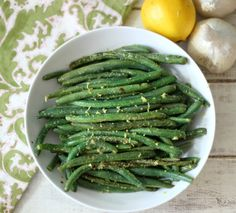 Lemon and Garlic Green Beans - Light, buttery, garlicky green beans with a hint of spice and lemon zest.