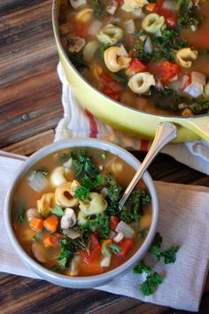 Tortellini turned soup in this recipe by Uproot from Oregon uses an easily prepared soup base from common pantry items like onion, garlic, carrots, broth and Italian seasoning. Simmer with al dente. Soup Recipes, Vegetarian Recipes, Dinner Recipes, Cooking Recipes, Healthy Recipes, Kale Recipes, Healthy Soups, Tortellini Soup, Spinach Tortellini