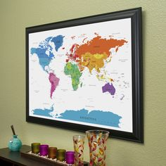Product review push pin travel maps travel maps colorful world push pin travel map in black frame gumiabroncs Images