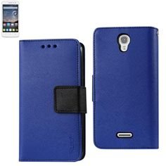 Reiko Wallet Case 3 In 1 For Alcatel Onetouch Pop Astro Navy With Interior Leather-Like Material & Polymer Cover