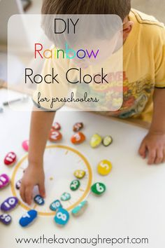 DIY Rainbow Rock Clock for Preschoolers. Montessori inspired way to teach time to young kids. Focuses on color matching, numbers and so much more!