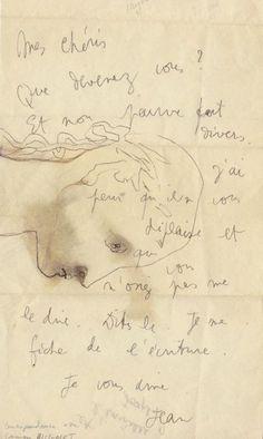 Jean Coteau - Lettre autographe signée à l'écrivain surréaliste Georges Hugnet, enrichie d'un dessin à l'encre noire représentant un visage de profil, nd «Mes chéris, que devenez vous? Et mon pauvre fait divers. J'ai peur qu'il ne vous déplaise et que vous n'osiez pas me le dire. Dites le. Je me fiche de l'écriture. Je vous aime. Jean. Et l'invisible Joseph?»