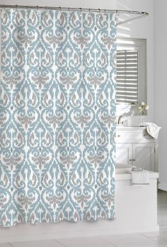 This Beautiful Curtain Has A Grey Zig Zag Medallion Pattern On