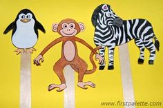 Print out, color and make these adorable zoo animals into easy stick puppets.