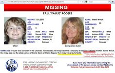 "URGENT!  MOM IS BIPOLAR and NONCUSTODIAL PARENT!!    Paul TH Rogers was ""no show"" for 3rd grade at Pizzo Elementary School in Tampa Fl on 8/23/11 possibly residing in Seattle WA, Dallas, TX or Ann Arbor MI. She is deep in hiding and people who could be helping would know who and where she is.  Paul's mother had suicidal crisis in Sept 2009, diagnosed as BiPolar and she's off her meds. Both Paul and his mother could be in danger.  Orlando Police 1-407-246-2470  1-800-THE-LOST(1-800-843-5678)"