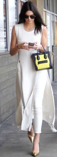 #spring #summer #celebrity #fashion #outfitideas | All White + Pop Of Yellow | Kendall Jenner