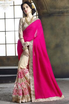Beige Tussar Silk #Wedding-Saree with Blouse