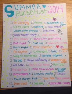 Summer bucket list 2014- by Josie(: