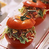 BLT-Stuffed Tomatoes:  For a fun presentation, serve the salad in hollowed-out tomatoes. This salad recipe includes everything in a bacon, lettuce, and tomato sandwich, with a yummy mayonnaise dressing. Add some cheddar cheese for good measure.