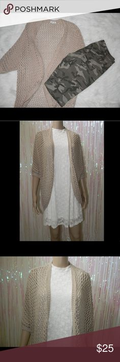 """Tan Open Knit Kimono (213) Size xs/s, very good condition, 100% acrylic, 31"""" long front, 37"""" long back -Packages are shipped from California -Sorry but NO TRADES -Everything is cross-posted -Sorry No Holds -Comes from smoke free, dog friendly home -Bundle for discounts -Reasonable offers are accepted  -All measurements are from items laying flat Garage Sweaters Cardigans"""