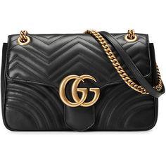 Gucci GG Marmont matelassé shoulder bag (5130 TND) ❤ liked on Polyvore featuring bags, handbags, shoulder bags, black, leather purses, leather flap handbags, gucci purse, shoulder handbags and chain shoulder bag