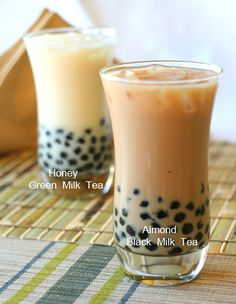 My fave (non-alcoholic) drink. almond milk tea from Cha for Tea (with their green apple & mango green teas in place! Pearl Tea, Bubble Milk Tea, Ice Milk, Honey Almonds, Tea Powder, Non Alcoholic Drinks, Beverages, Brewing Tea, Mets