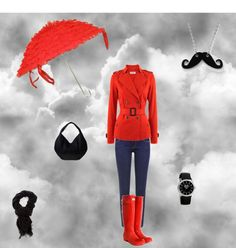 rainy day fashion, created by mmthomp on Polyvore  But not the frilly umbrella... simpler