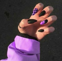 Purple Acrylic Nails, Acrylic Nails Coffin Short, Best Acrylic Nails, Purple Nails, Acrylic Nail Designs, Black Nails, Coffin Nails, Edgy Nails, Grunge Nails