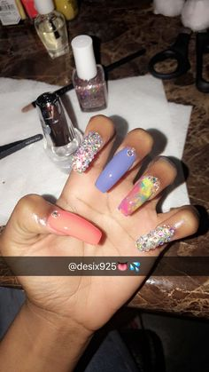 Nails by me follow my ig~desix925✨ Pink Stiletto Nails, Bling Nails, Colorful Nail Designs, Beautiful Nail Designs, Hot Nails, Hair And Nails, Gorgeous Nails, Pretty Nails, Acrylics