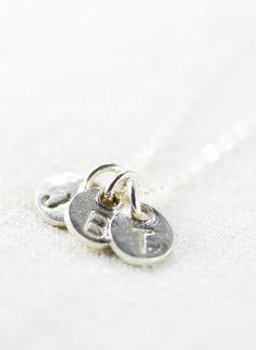 Makana necklace - silver monogram necklace, three initial necklace, https://www.etsy.com/listing/170316716 Ke Aloha Jewelry Maui, Hawaii